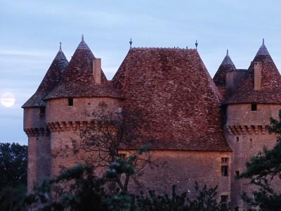 Château de Sarzay, Indre – Pleine lune sur le château de Sarzay