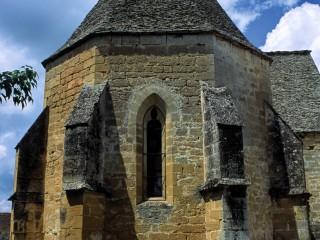 Eglise de Saint-André d'Allas, Dordogne  –  Lauzes et contreforts