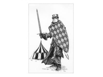Epée et bouclier, encre de chine