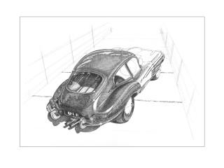 Jaguar type E, essai, encre de chine