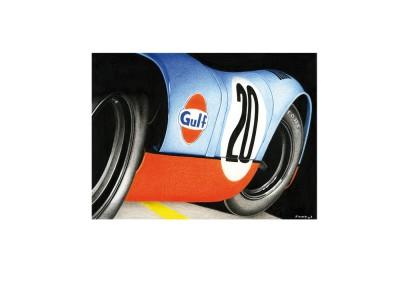 Porsche 917k, dans sa livrée bleu-orange «GULF» – Vue studio