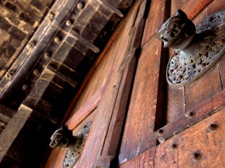 Têtes de lions en bronze, Porche du For, Cathédrale du Puy en Velay, Haute-Loire