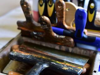 Les outils de l'artiste Pierre Le Preux.