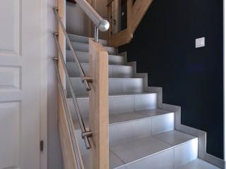 Maison contemporaine, escalier intérieur