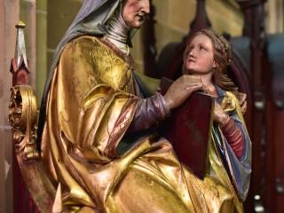 Education de la Vierge, bois polychrome, Thann, Alsace