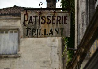 Ancienne enseigne pâtisserie Feillant, Brantôme, Dordogne